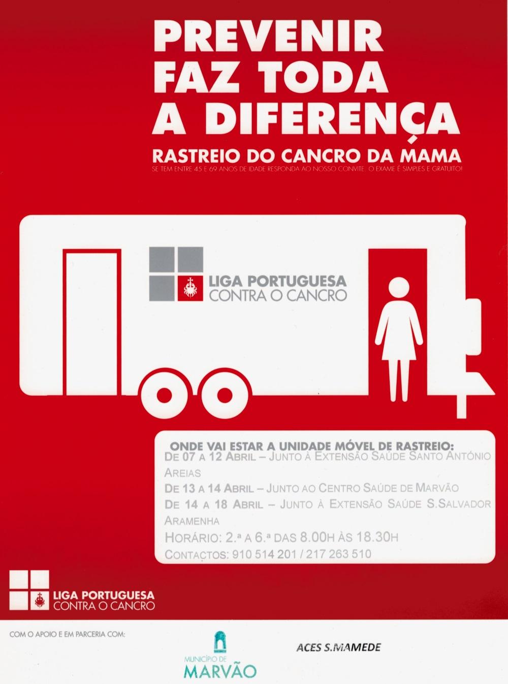 f85b880ee164b A Liga Portuguesa Contra o Cancro, através do Núcleo Regional do Sul,  promove, entre os dias 7 e 18 de abril, um Rastreio do Cancro da Mama no  concelho de ...