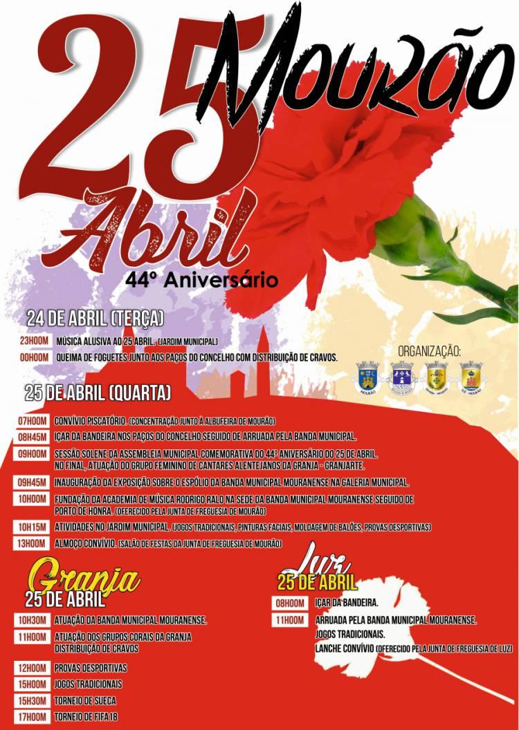 Conheça o programa para 25 de abril em Mourão