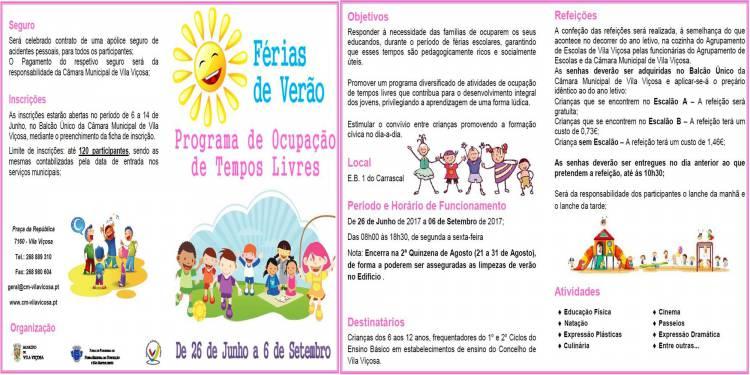 Câmara de Vila Viçosa promove Programa de ocupação de Tempos Livres para crianças do concelho