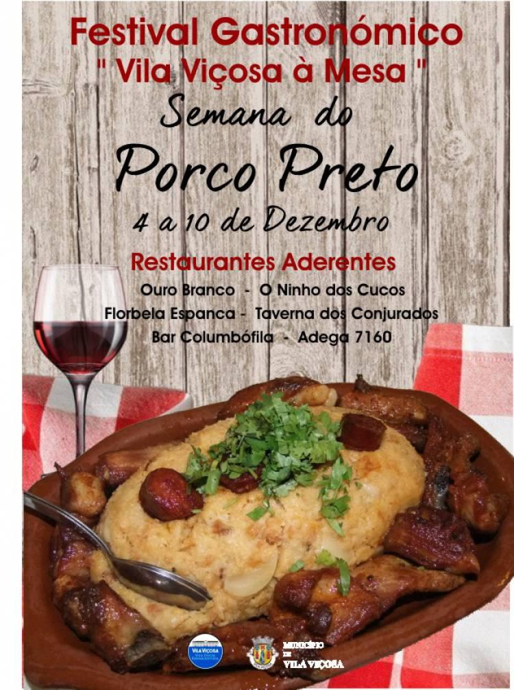 Vila Viçosa: Até 10 de dezembro Semana Gastronómica do Porco Preto