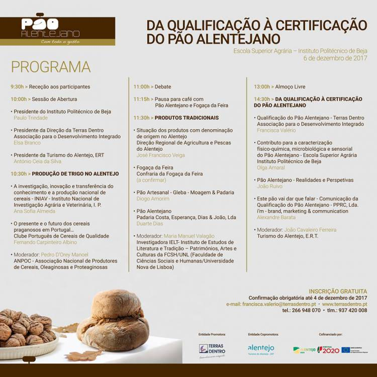 """Politécnico de Beja recebe Seminário """"Da Qualificação à Certificação do Pão Alentejano"""""""