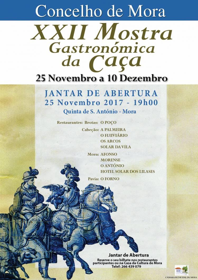 Mora rceberá XXII Mostra Gastronomica da Caça a partir de 25 de novembro