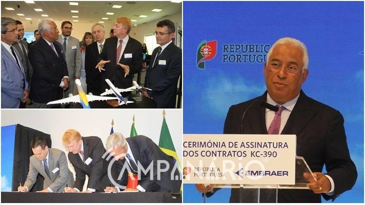 """Primeiro Ministro assinou em Évora contrato de 827M€ para aquisição de aeronaves à Embraer, cluster """"muito importante para a coesão territorial"""" (c/som e fotos)"""