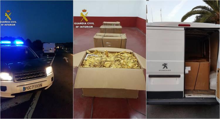 Autoridades espanholas detêm cinco portugueses por contrabando de 75 mil euros em folha de tabaco próximo de Cáceres
