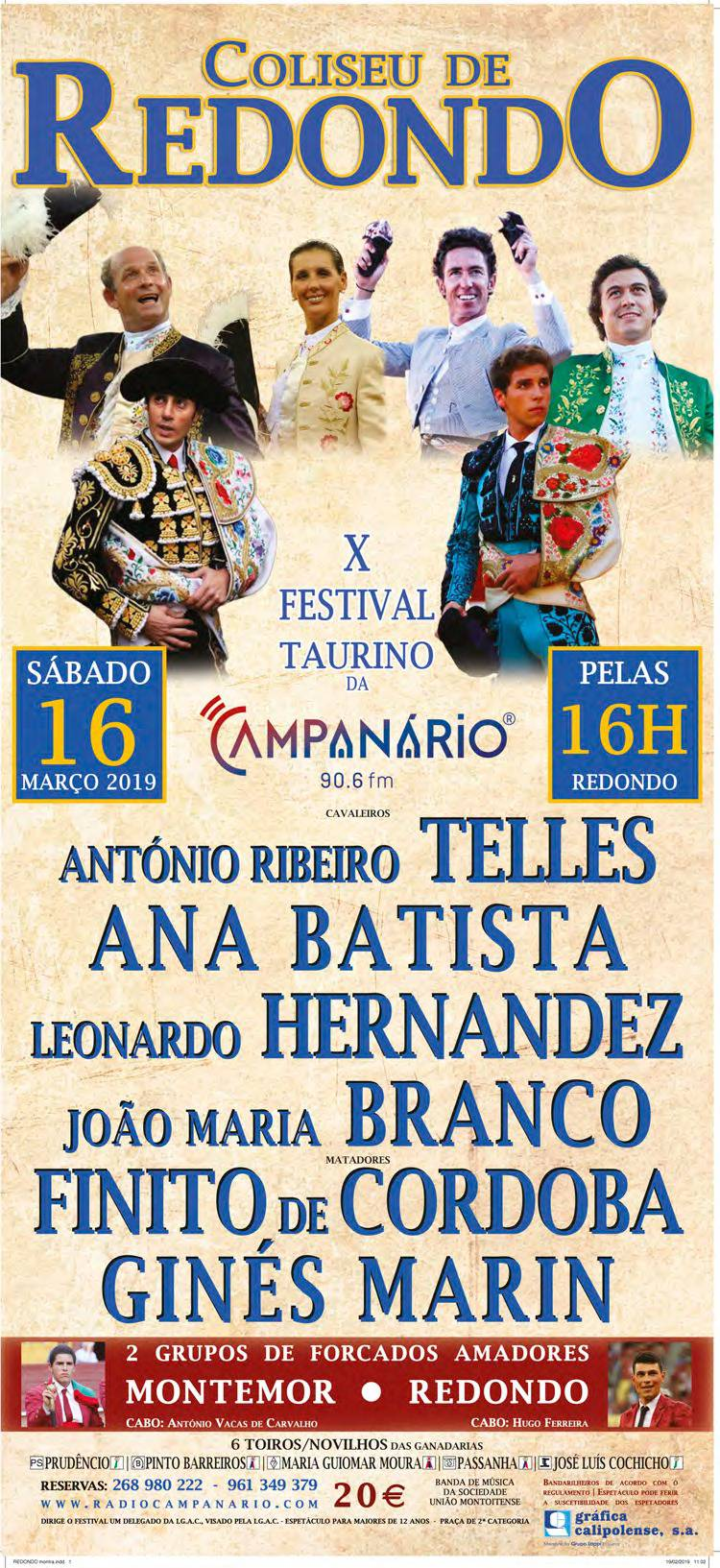 """Um cartel de figuras para o """"X Festival Taurino da Rádio Campanário"""" a 16 de Março"""