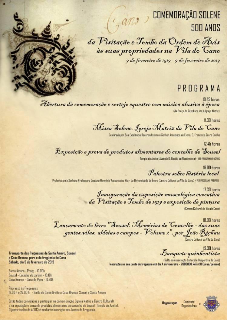 Sousel comemora 500 Anos da Visitação e Tombo da Ordem de Avis às suas propriedades na Vila do Cano
