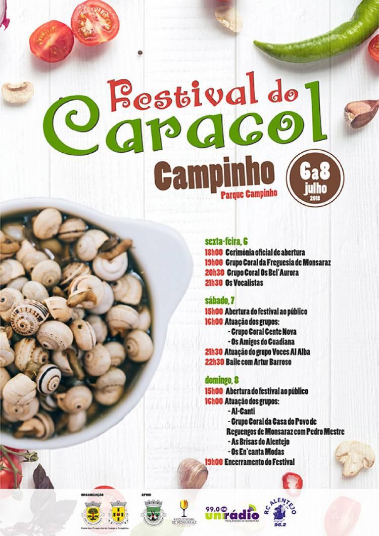 Campinho receberá I Festival do caracol de 6 a 8 de julho