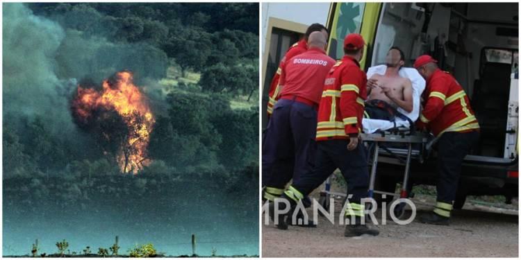 Mais de 100 bombeiros combateram incêndio no concelho de Évora. Um bombeiro foi assistido (c/fotos)