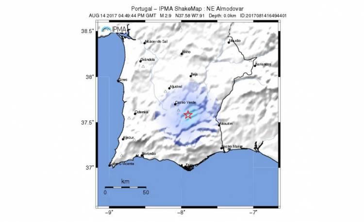 Sismo de magnitude 2.9 atinge zona de Almodôvar