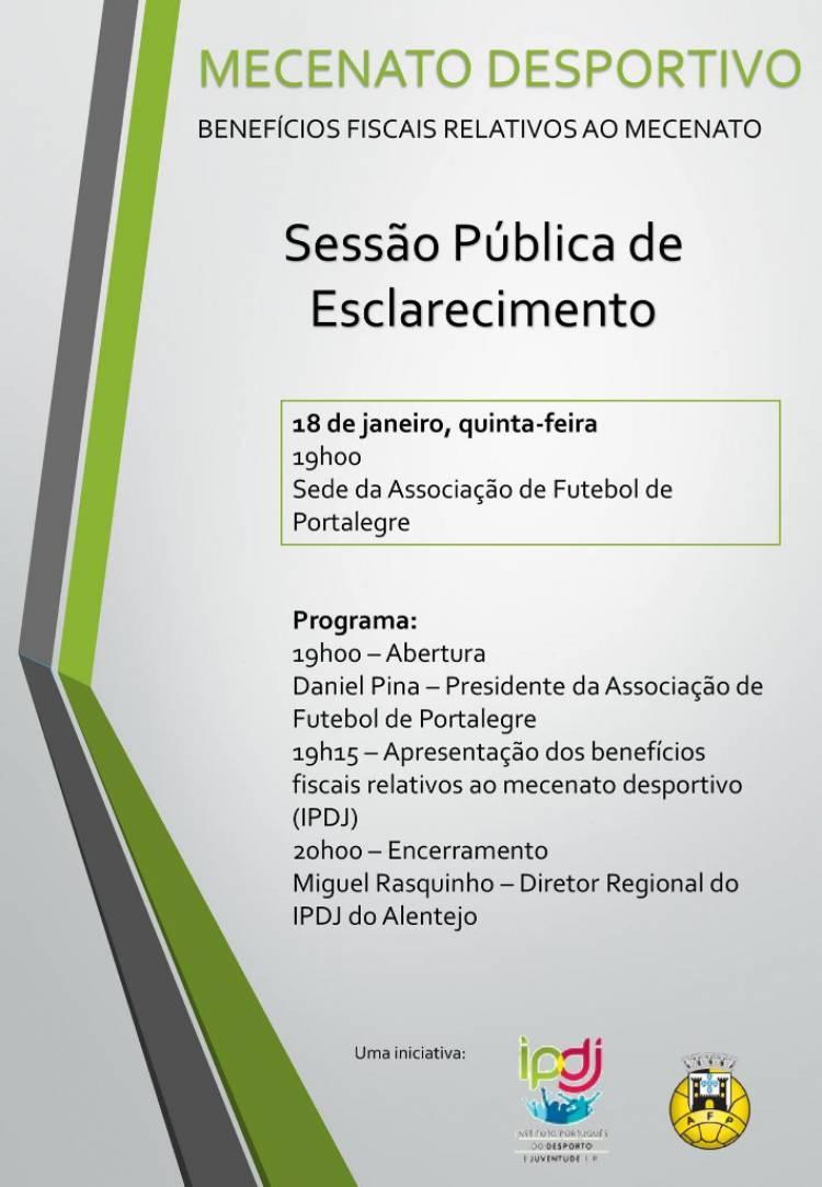 Portalegre recebe hoje Sessão Pública de esclarecimentos sobre o Mecenato Desportivo