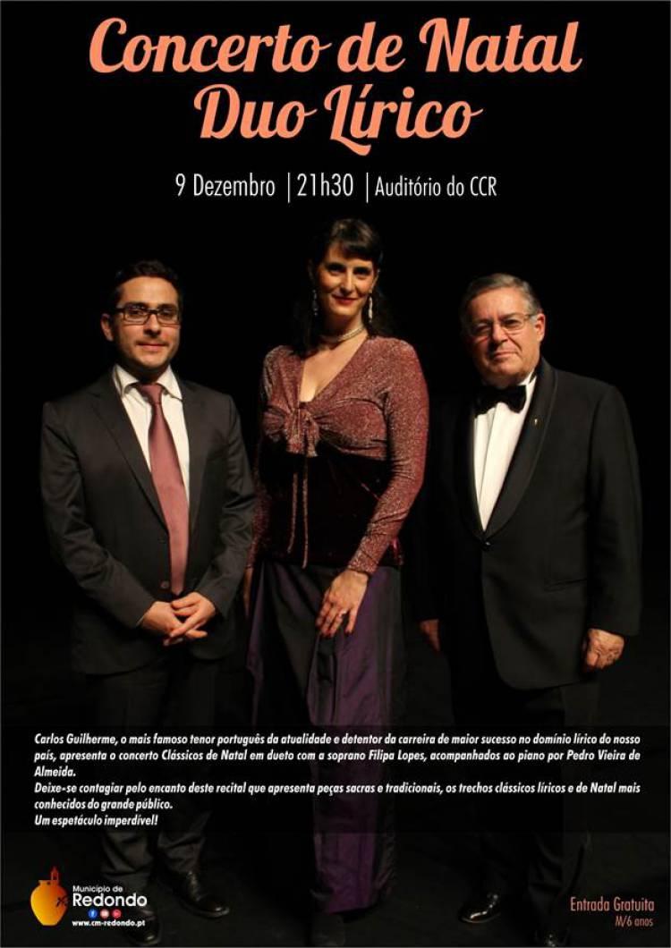 Concerto de Natal Duo Lírico Carlos Guilherme e Filipa Lopes no Centro Cultural de Redondo