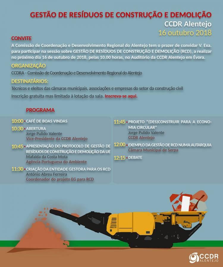 Gestão de Resíduos de Construção e Demolição em debate na CCDR Alentejo