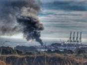 Incêndio no terminal 21 do Porto de Sines mobiliza operacionais dos Bombeiros Voluntários de Sines