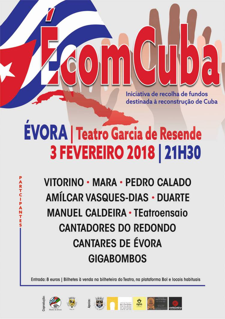 Évora recebe espetáculo a favor das vitimas do Furacão Irma em Cuba