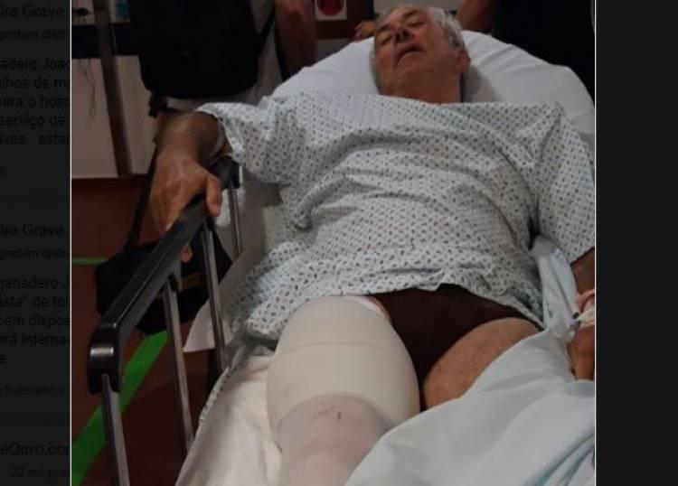 Ganadeiro Joaquim Grave com orifício de entrada e saída numa perna após colhida por touro da sua ganadaria