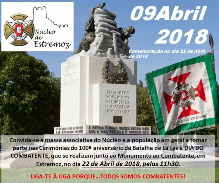 Estremoz recebe comemoração do Dia do Combatente e Batalha de La Lys a 22 de Abril