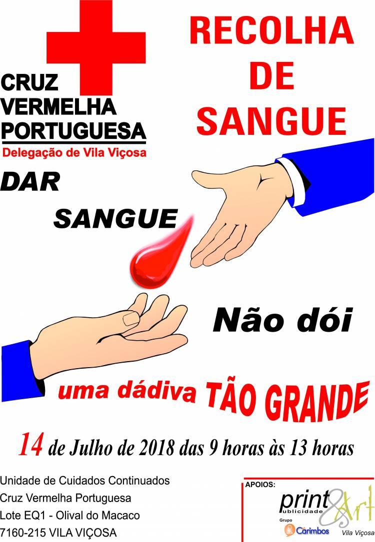 Cruz Vermelha de Vila Viçosa realiza colheita de sangue dia 14 de julho