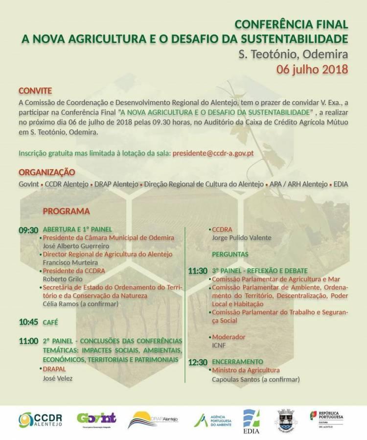 CCDRA promove Conferência Final A Nova Agricultura e o Desafio da Sustentabilidade