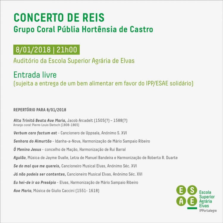Escola Agrária de Elvas recebe concerto de Reis