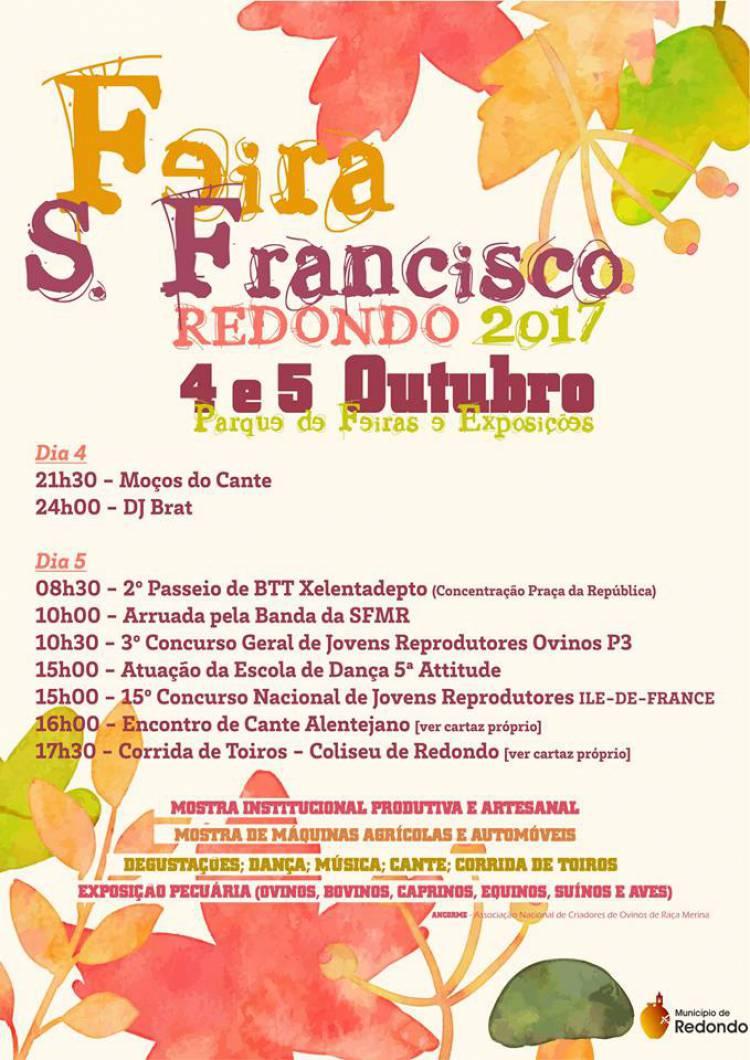 Redondo recebe nos dias 4 e 5 de outubro mais uma Feira de S. Francisco
