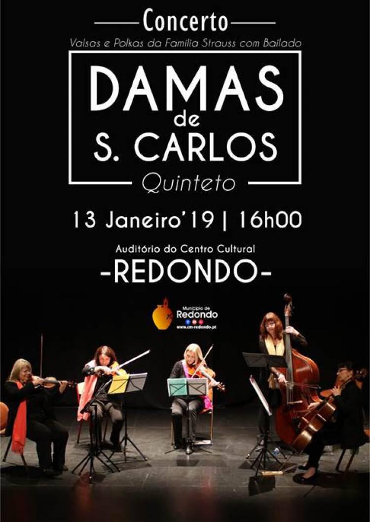 """Quinteto traz espetáculo """"Damas de S. Carlos"""" ao Centro Cultural de Redondo"""