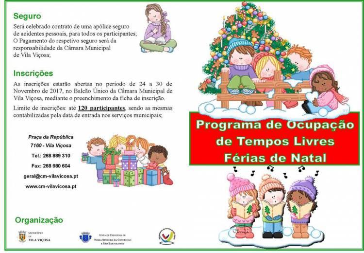 Município de Vila Viçosa promove Programa de Ocupação de Tempos Livres – Férias de Natal 2017