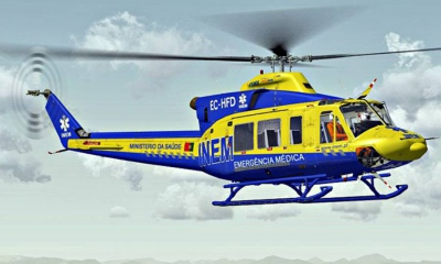 2 vítimas em avaliação após aparatosa colisão perto de Ourique. Helicóptero do INEM no Local